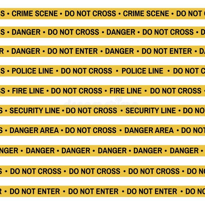 Το σύνολο κίτρινης ταινίας σκηνών εγκλήματος, γραμμή αστυνομίας, κίνδυνος, πυρκαγιά, δεν διασχίζει την ταινία Επίπεδος-ύφος κινού ελεύθερη απεικόνιση δικαιώματος