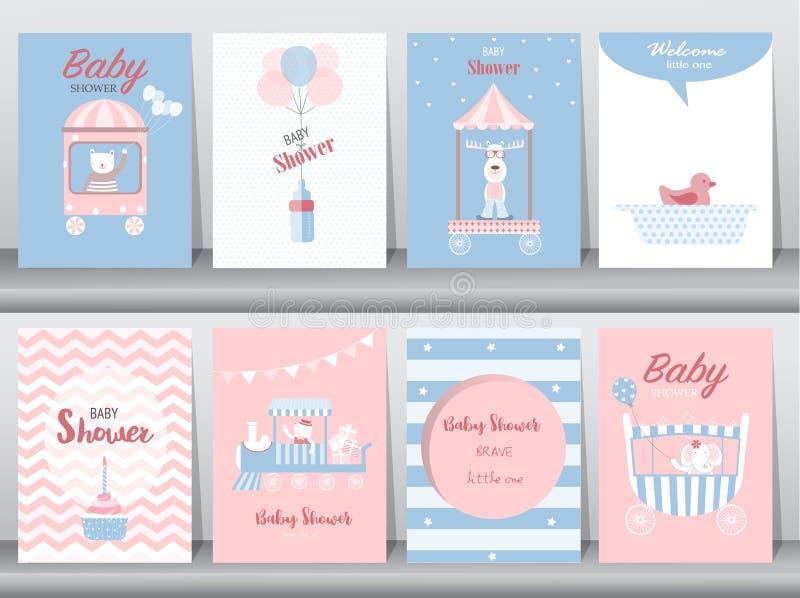 Το σύνολο καρτών πρόσκλησης ντους μωρών, κάρτες γενεθλίων, αφίσα, πρότυπο, ευχετήριες κάρτες, χαριτωμένες, αντέχει, εκπαιδεύει, α διανυσματική απεικόνιση