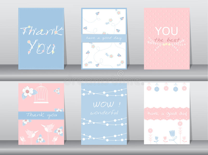 Το σύνολο καρτών πρόσκλησης, σας ευχαριστεί κάρτες, αφίσα, πρότυπο, ευχετήριες κάρτες, ζώα, πουλιά, λουλούδια, διανυσματικές απει ελεύθερη απεικόνιση δικαιώματος
