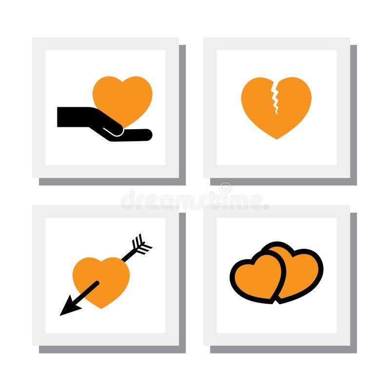 Το σύνολο καρδιάς σχεδίων και αγάπης, διαζύγιο & χωρίζει - διανυσματικά εικονίδια ελεύθερη απεικόνιση δικαιώματος