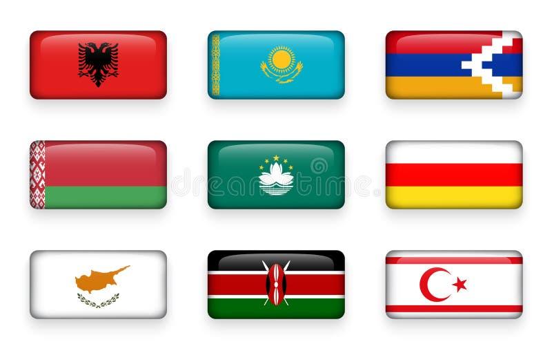 Το σύνολο κόσμου σημαιοστολίζει τα κουμπιά Αλβανία ορθογωνίων Καζακστάν Ναγκόρνο-Καραμπάχ belatedness Μακάο Νότια Οσετία Κύπρος Κ ελεύθερη απεικόνιση δικαιώματος