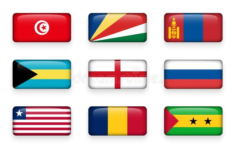 Το σύνολο κόσμου σημαιοστολίζει τα κουμπιά Τυνησία ορθογωνίων Σεϋχέλλες Μογγολία _ Αγγλία Ρωσία Λιβερία Τσαντ Σάο Τομέ ελεύθερη απεικόνιση δικαιώματος
