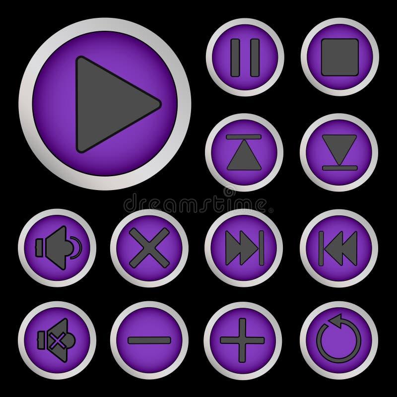 Το σύνολο νέου κουμπώνει την πορφύρα διανυσματική απεικόνιση