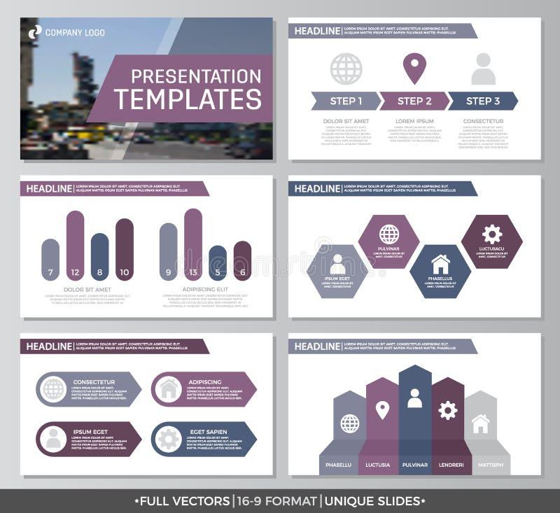 Το σύνολο πορφυρών στοιχείων για το για πολλές χρήσεις πρότυπο παρουσίασης γλιστρά με τις γραφικές παραστάσεις και τα διαγράμματα ελεύθερη απεικόνιση δικαιώματος