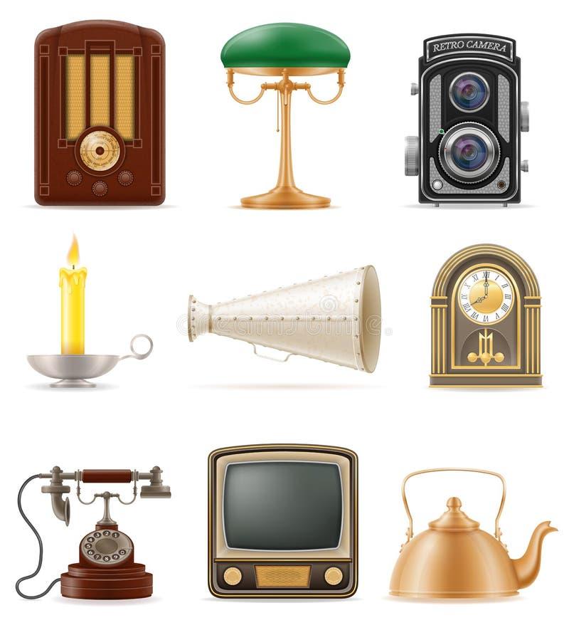 Το σύνολο πολύς αντιτίθεται αναδρομικό παλαιό εκλεκτής ποιότητας διάνυσμα αποθεμάτων εικονιδίων illustr διανυσματική απεικόνιση