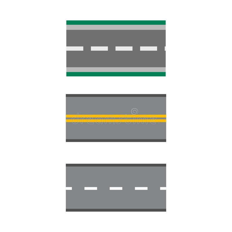 Το σύνολο προτύπων ευθειών διανυσματικών απεικονίσεων οδικών εθνικών οδών ασφάλτου ασφαλτώνει τη μεταφορά ταξιδιών τρόπων ελεύθερη απεικόνιση δικαιώματος