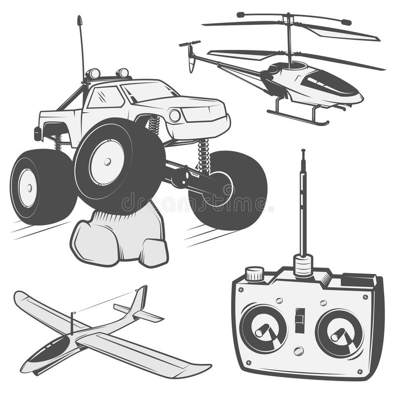 Το σύνολο ραδιο ελεγχόμενων εμβλημάτων μηχανών, RC, ραδιο ελεγχόμενα παιχνίδια σχεδιάζει τα στοιχεία για τα εμβλήματα, εικονίδιο, διανυσματική απεικόνιση