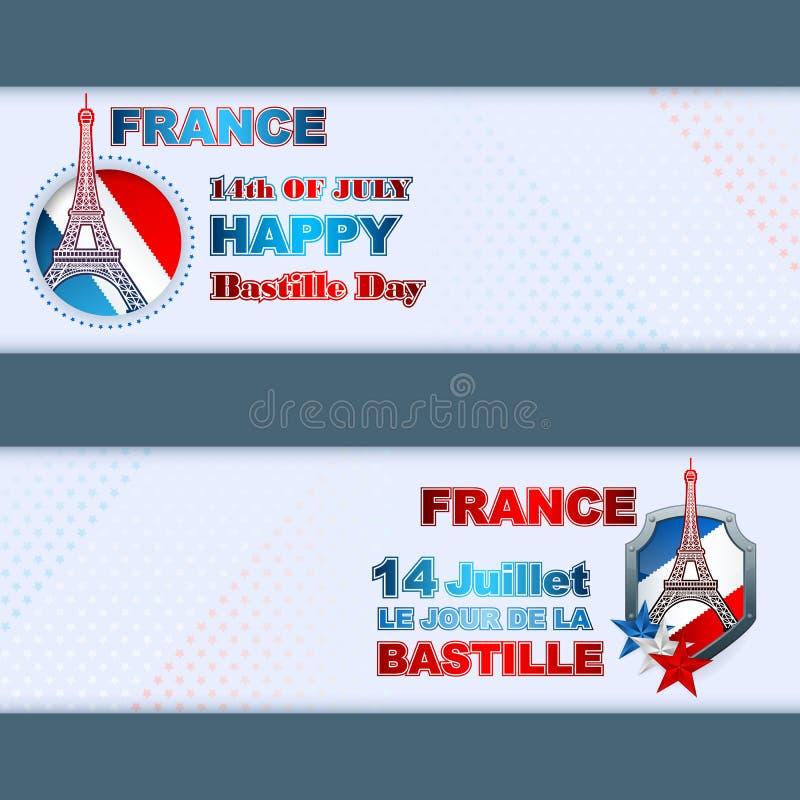 Το σύνολο σχεδίου εμβλημάτων με τη εθνική σημαία χρωματίζει το υπόβαθρο για τη ημέρα της ανεξαρτησίας της Γαλλίας απεικόνιση αποθεμάτων