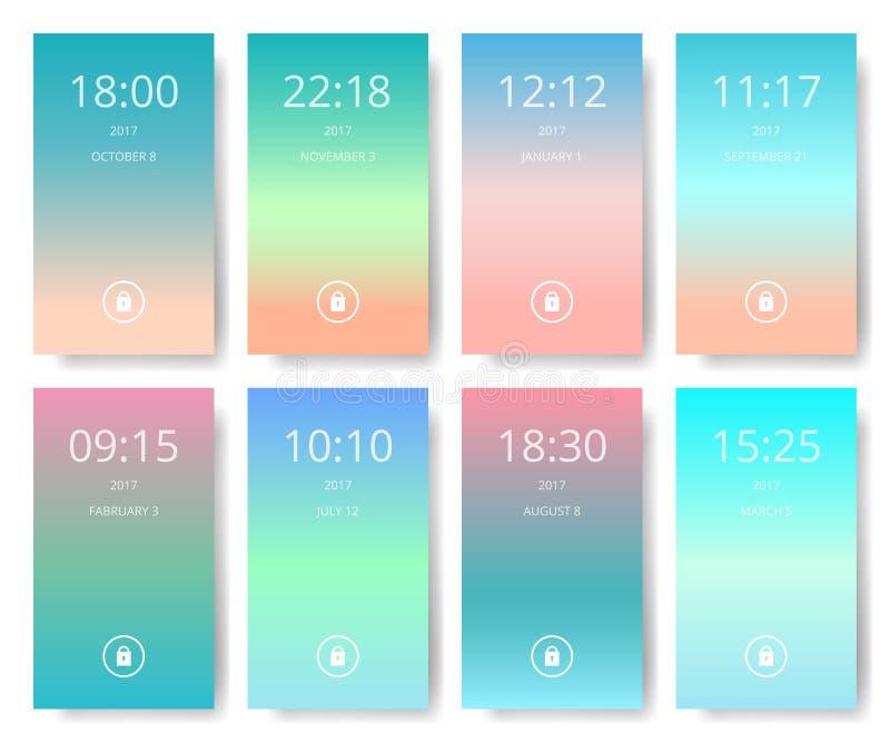 Το σύνολο σύγχρονου ενδιάμεσου με τον χρήστη, ux, ui καλύπτει τις ταπετσαρίες για το κινητό έξυπνο τηλέφωνο απεικόνιση αποθεμάτων