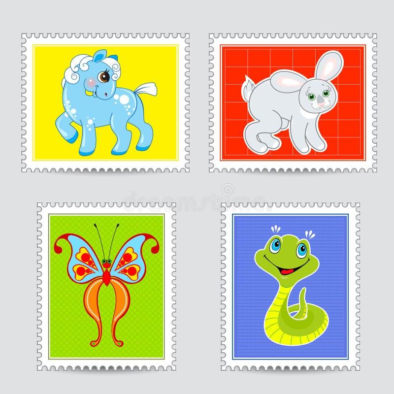 Το σύνολο ταχυδρομικών σφραγίδων γνωρίζει τα ζώα μωρών ελεύθερη απεικόνιση δικαιώματος