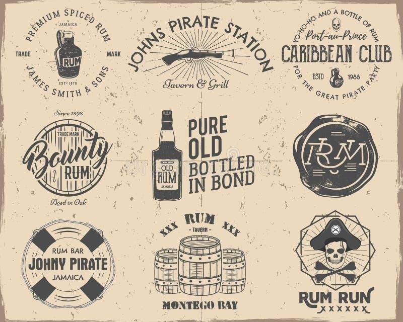Το σύνολο τρύού τα εμβλήματα πειρατών, ετικέτες, λογότυπα σε ένα γρατσουνισμένο υπόβαθρο εγγράφου Σκιαγράφηση που γεμίζουν διανυσματική απεικόνιση