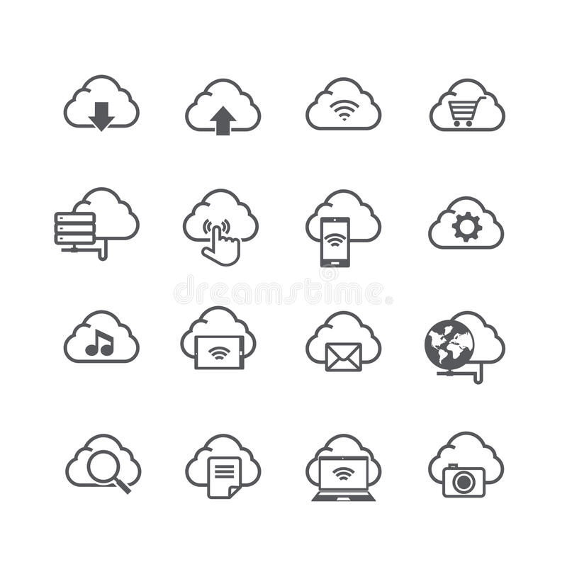 Το σύνολο υπολογιστή σύννεφων και το κοινωνικό εικονίδιο σύνδεσης δικτύων απομονώνουν απεικόνιση αποθεμάτων