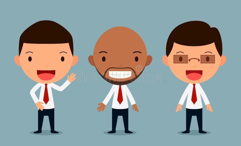 Το σύνολο χαρακτήρων επιχειρηματιών θέτει, εργαζόμενος γραφείων, μορφή ελεύθερη απεικόνιση δικαιώματος