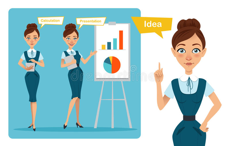 Το σύνολο χαρακτήρων επιχειρησιακών γυναικών θέτει Το κορίτσι έχει την ιδέα Το κορίτσι παρουσιάζει ότι η παρουσίαση και το κορίτσ ελεύθερη απεικόνιση δικαιώματος