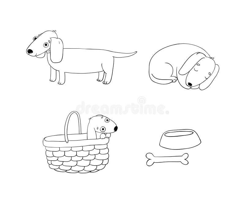 Το σύνολο χαριτωμένης απεικόνισης dachshund σε διαφορετικό θέτει διανυσματική απεικόνιση