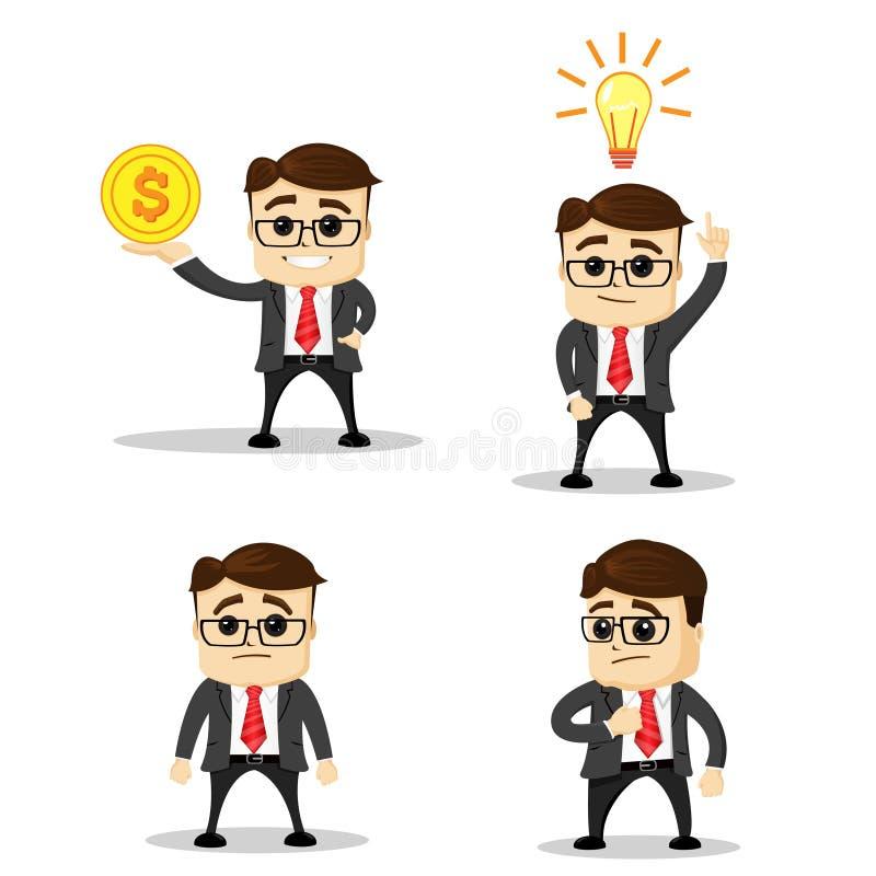 Το σύνολο χαριτωμένων επιχειρηματία χαρακτήρων και εργαζομένου γραφείων θέτει διάνυσμα Χαρακτήρας διευθυντών Επίπεδη απεικόνιση Ε διανυσματική απεικόνιση