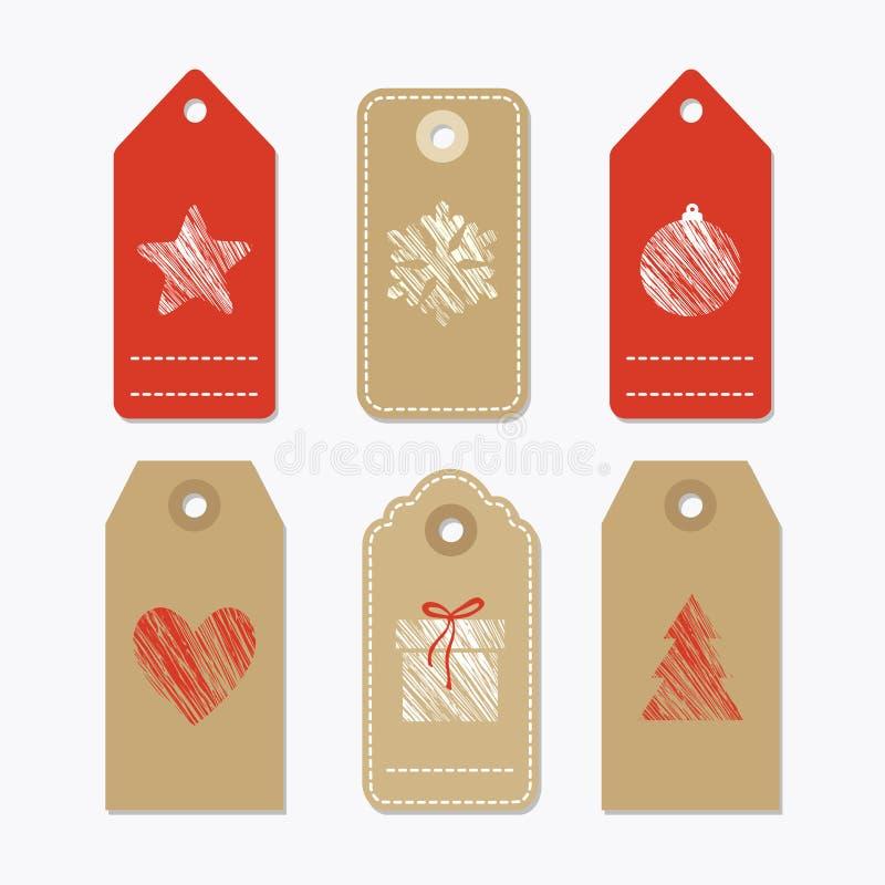Το σύνολο χαριτωμένων ετικεττών δώρων εγγράφου, ετικέτες με τα κατασκευασμένα σύμβολα Χριστουγέννων, απομόνωσε το s ελεύθερη απεικόνιση δικαιώματος