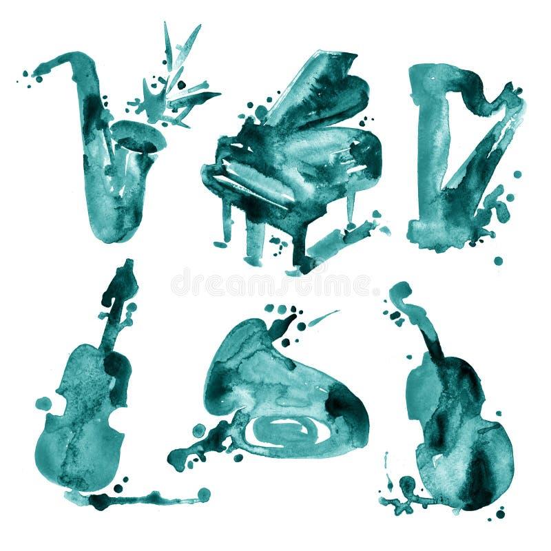Το σύνολο χεριού σύρει τα μουσικά όργανα watercolor διανυσματική απεικόνιση