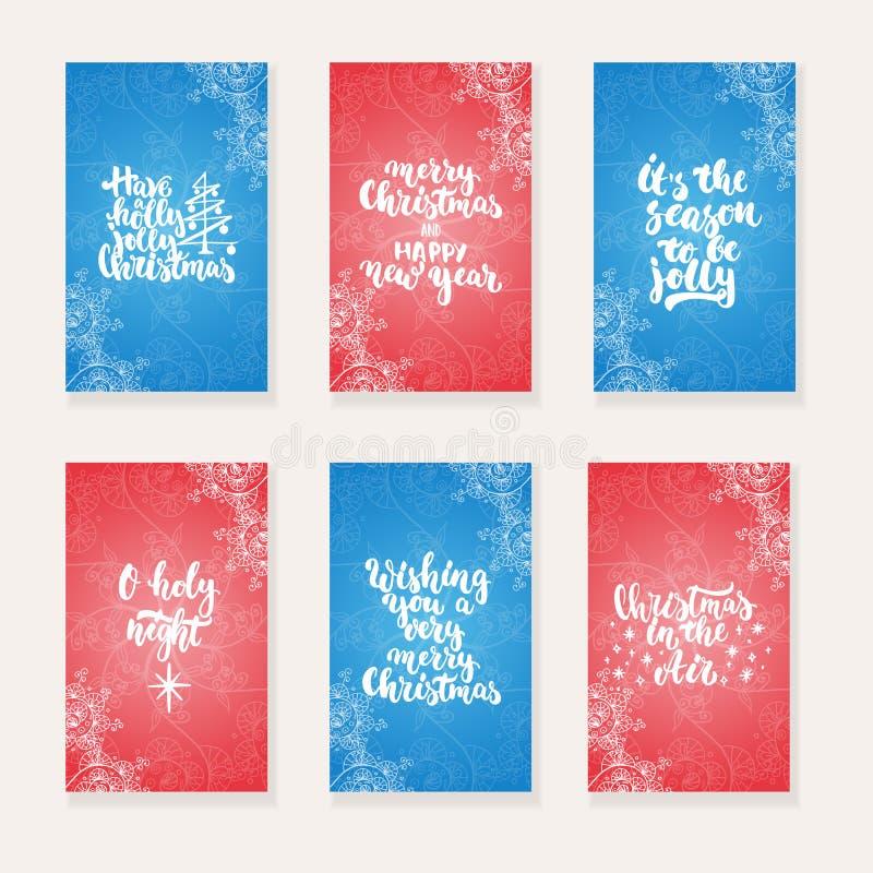 Το σύνολο Χριστουγέννων 6 και οι νέες ευχετήριες κάρτες έτους με το χέρι που σύρεται βουρτσίζουν την εγγραφή και doodles Πρόσκλησ ελεύθερη απεικόνιση δικαιώματος