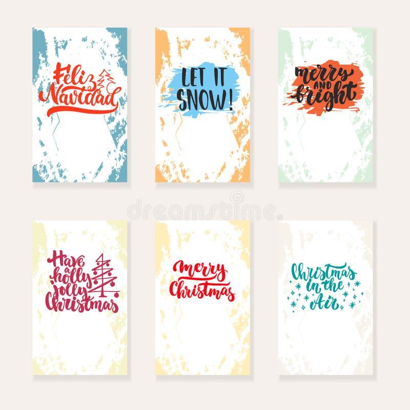 Το σύνολο Χριστουγέννων 6 και οι νέες ευχετήριες κάρτες έτους με το χέρι που σύρεται βουρτσίζουν τα στοιχεία εγγραφής και σκίτσων ελεύθερη απεικόνιση δικαιώματος