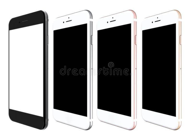 Το σύνολο χρυσού τεσσάρων smartphones, αυξήθηκε, ασήμι και ο Μαύρος διανυσματική απεικόνιση