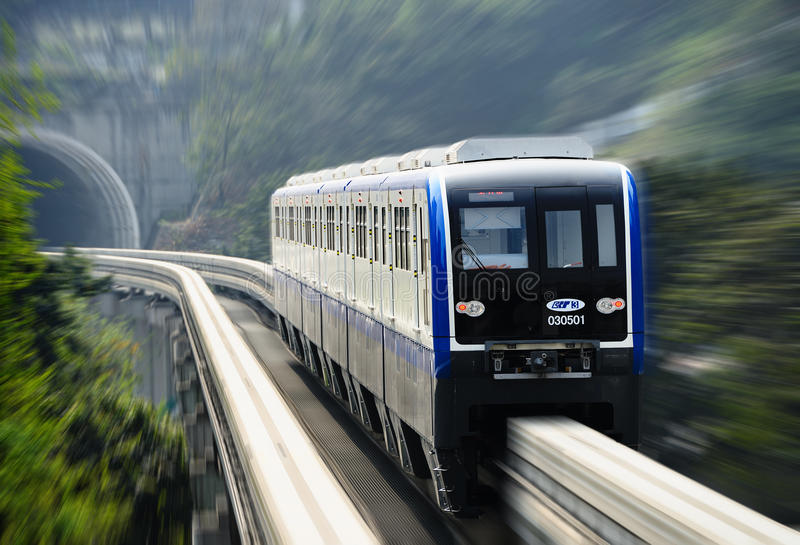 Σύστημα μονοτρόχιων σιδηροδρόμων Chongqing στοκ εικόνες