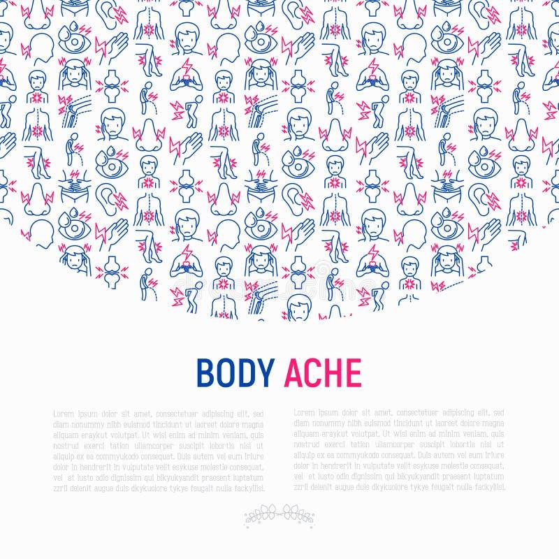 Το σώμα πονά έννοια με τα λεπτά εικονίδια γραμμών διανυσματική απεικόνιση