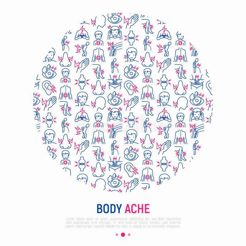 Το σώμα πονά έννοια στον κύκλο με τα λεπτά εικονίδια γραμμών ελεύθερη απεικόνιση δικαιώματος