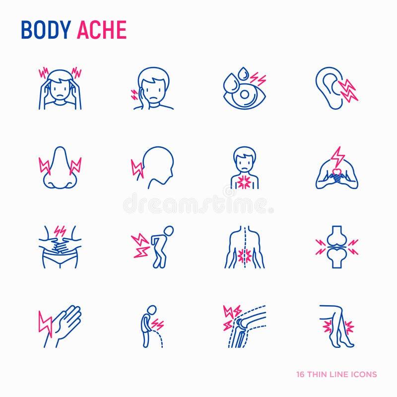 Το σώμα πονά λεπτά εικονίδια γραμμών καθορισμένα: ημικρανία, πονόδοντος, πόνος στο μάτι απεικόνιση αποθεμάτων