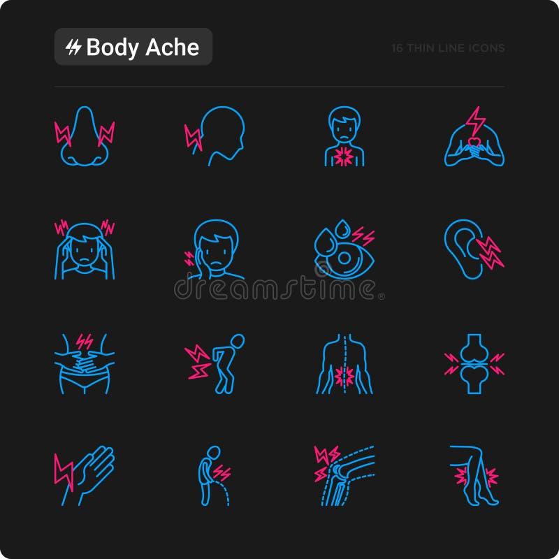 Το σώμα πονά λεπτά εικονίδια γραμμών καθορισμένα απεικόνιση αποθεμάτων