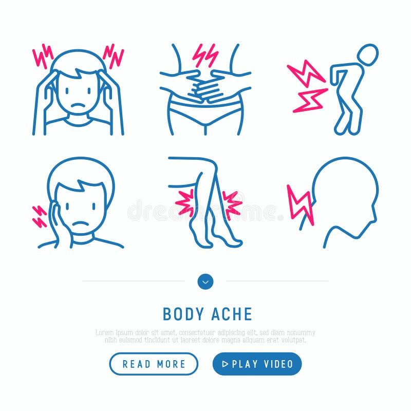 Το σώμα πονά λεπτά εικονίδια γραμμών καθορισμένα ελεύθερη απεικόνιση δικαιώματος