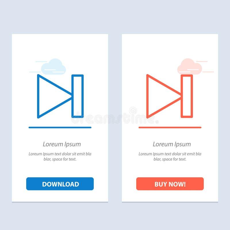Το τέλος, μπροστινός, τελευταίος, έπειτα μπλε και κόκκινο μεταφορτώνει και αγοράζει τώρα το πρότυπο καρτών Widget Ιστού απεικόνιση αποθεμάτων