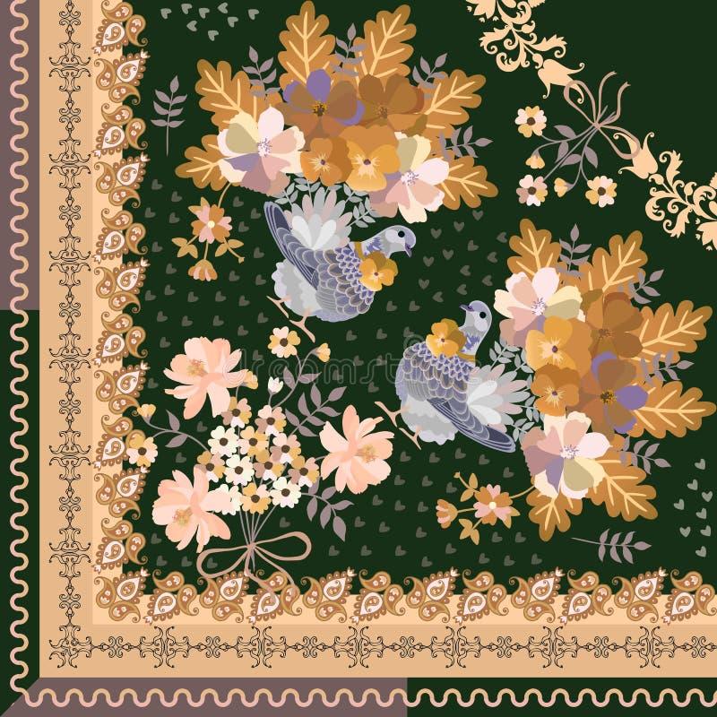 Το τέταρτο του σαλιού με τα πουλιά παραμυθιού, η ανθοδέσμη των λουλουδιών και το Paisley διακοσμούν στο σκούρο πράσινο υπόβαθρο Μ απεικόνιση αποθεμάτων