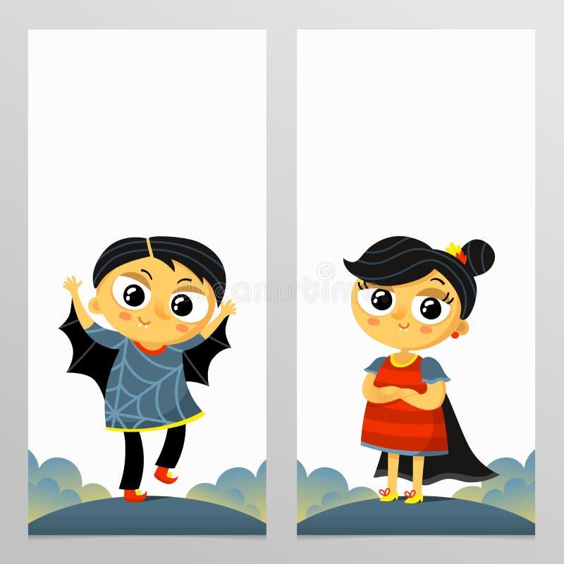 Το τέχνασμα ή μεταχειρίζεται τα κάθετα πρότυπα ιπτάμενων αποκριών με το αγόρι και το γ διανυσματική απεικόνιση
