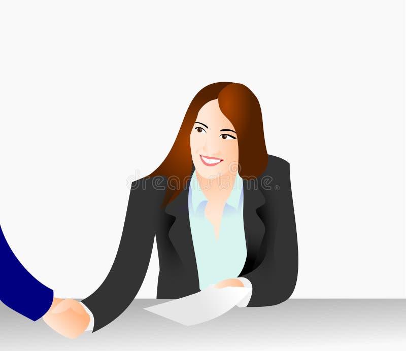 Το τίναγμα γυναικών παραδίδει μια επιχείρηση με έναν αγοραστή ελεύθερη απεικόνιση δικαιώματος