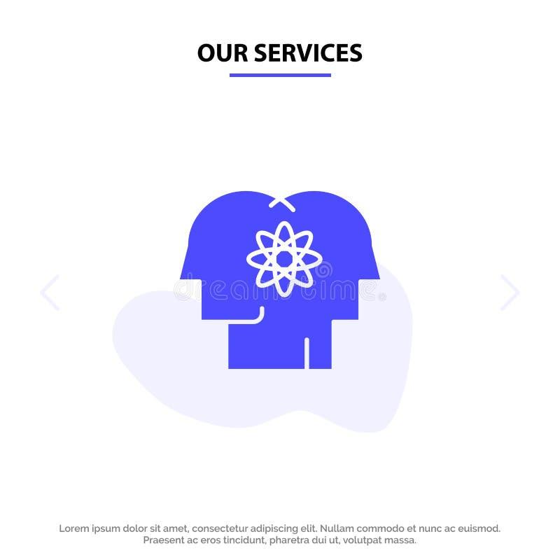 Το ταλέντο υπηρεσιών μας, άνθρωπος, βελτίωση, διαχείριση, στερεό πρότυπο καρτών Ιστού εικονιδίων Glyph ανθρώπων διανυσματική απεικόνιση