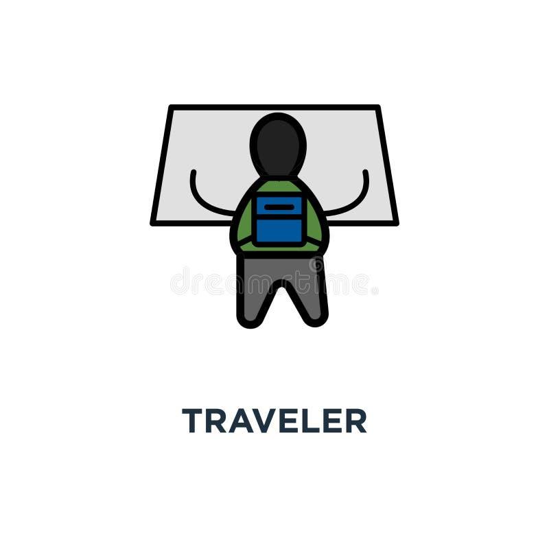 το ταξιδιωτικό εικονίδιο, το σύμβολο του εξερευνητή ή ο αναζητητής των περιπετειών με το ταξίδι τοποθετούν το χάρτη ταξιδιού προσ διανυσματική απεικόνιση