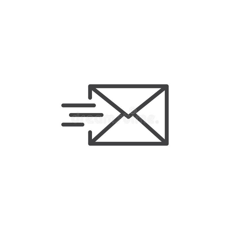 Το ταχυδρομείο στέλνει το εικονίδιο γραμμών ελεύθερη απεικόνιση δικαιώματος
