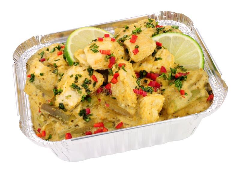 Το ταϊλανδικό πράσινο κάρρυ κοτόπουλου παίρνει μαζί το γεύμα στοκ φωτογραφία
