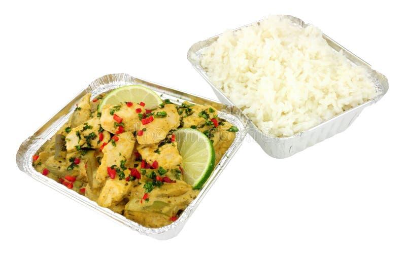 Το ταϊλανδικό πράσινο κάρρυ κοτόπουλου παίρνει μαζί το γεύμα στοκ φωτογραφία με δικαίωμα ελεύθερης χρήσης
