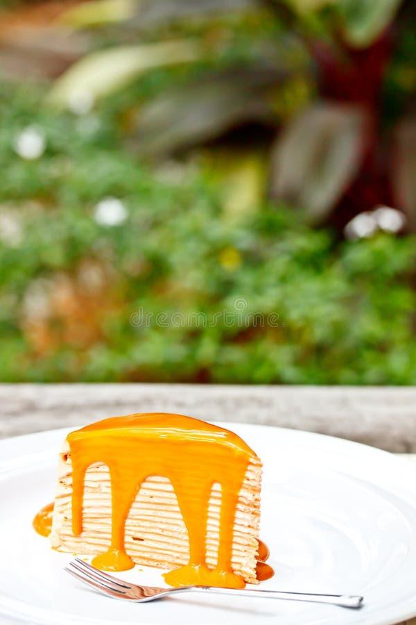 Το ταϊλανδικό τσάι crepe το κέικ 1 στοκ εικόνες