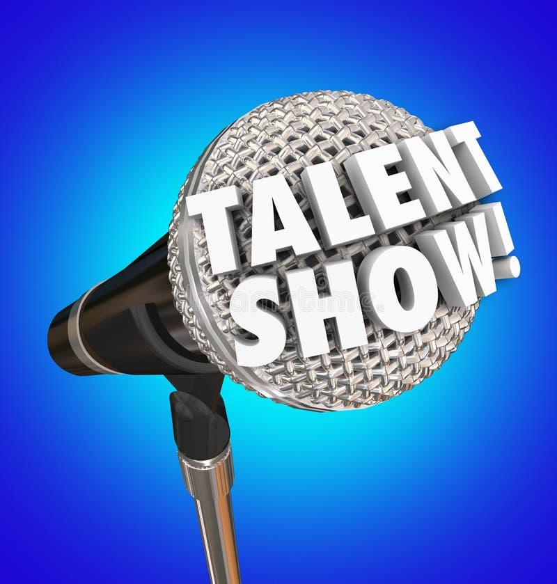 Το ταλέντο παρουσιάζει λέξεις μικροφώνων τραγουδώντας το γεγονός ανταγωνισμού διανυσματική απεικόνιση