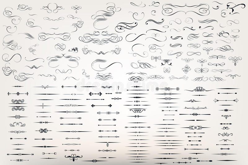 Το τεράστια σύνολο ή η συλλογή διανυσματικός filigree ακμάζει ελεύθερη απεικόνιση δικαιώματος