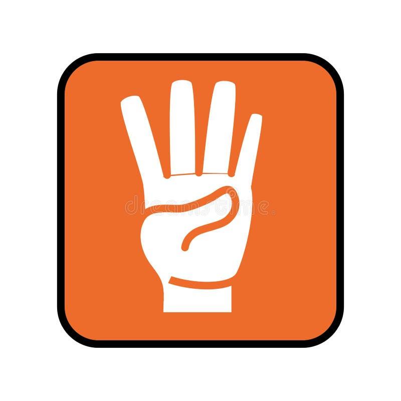 Το τετραγωνικό κουμπί με παραδίδει τη μορφή αριθμός τέσσερα εικονίδιο απεικόνιση αποθεμάτων