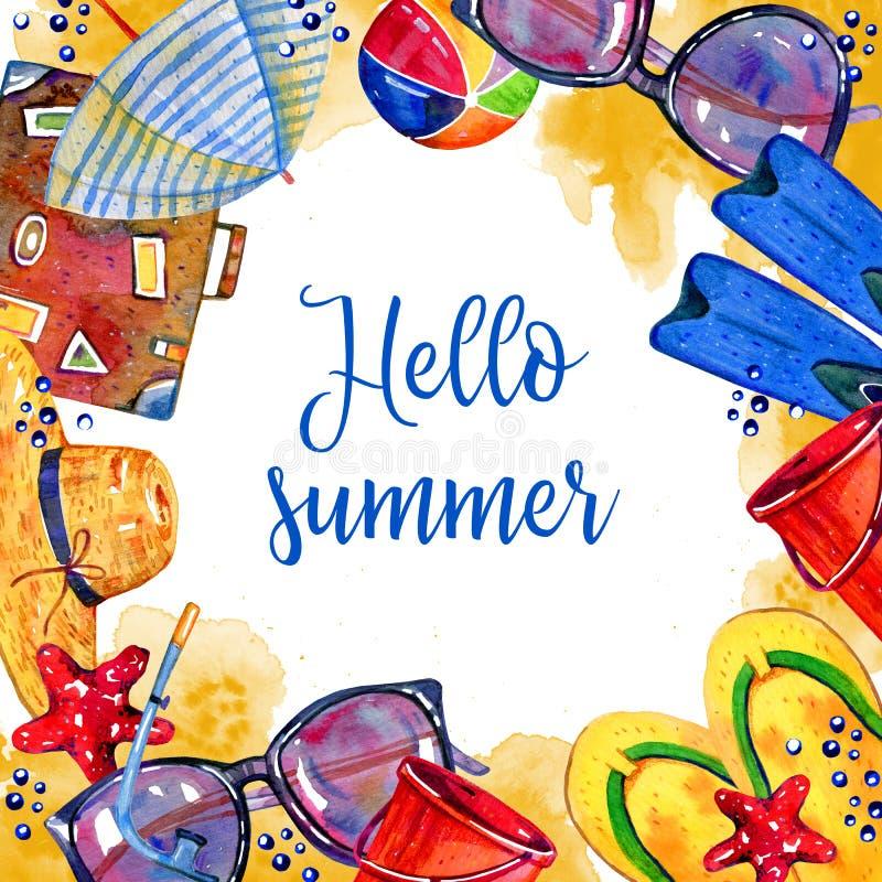 Το τετραγωνικό πρότυπο πλαισίων με την παραλία αντιτίθεται - parasol, βατραχοπέδιλα, βαλίτσα, σφαίρα, καπέλο, γυαλιά, κάδος διανυσματική απεικόνιση