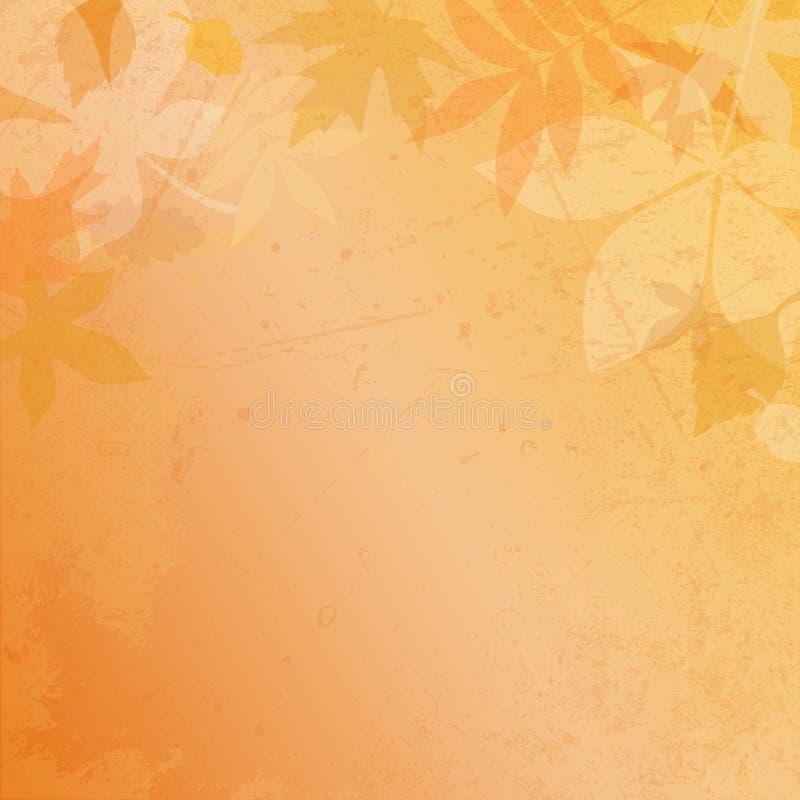 Το τετραγωνικό υπόβαθρο εγγράφου φθινοπώρου βγάζει φύλλα και γρατσουνίζει καφετή ελεύθερη απεικόνιση δικαιώματος