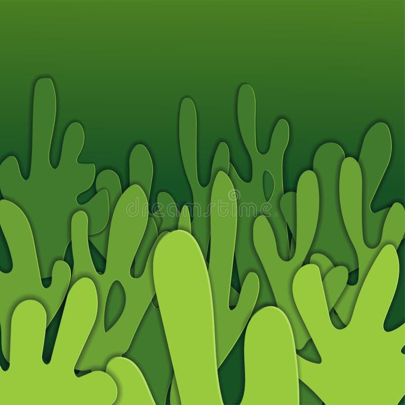 Το τετραγωνικό υπόβαθρο με το έγγραφο νερού παφλασμών έκοψε τις μορφές στο σκούρο πράσινο χρώμα τρισδιάστατο αφηρημένο ύφος τέχνη ελεύθερη απεικόνιση δικαιώματος