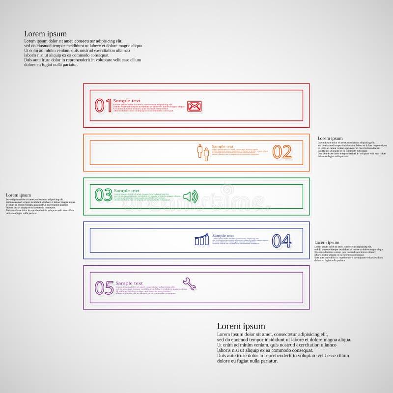 Το τετραγωνικό infographic πρότυπο μορφής αποτελείται από πέντε μέρη από τις περιλήψεις ελεύθερη απεικόνιση δικαιώματος