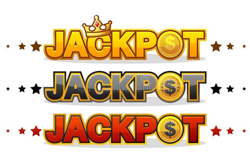 Το ΤΖΑΚ ΠΟΤ κερδίζει το λάμποντας σύμβολο κειμένων νικητών τυχερού παιχνιδιού χρημάτων που απομονώνεται στο λευκό διανυσματική απεικόνιση