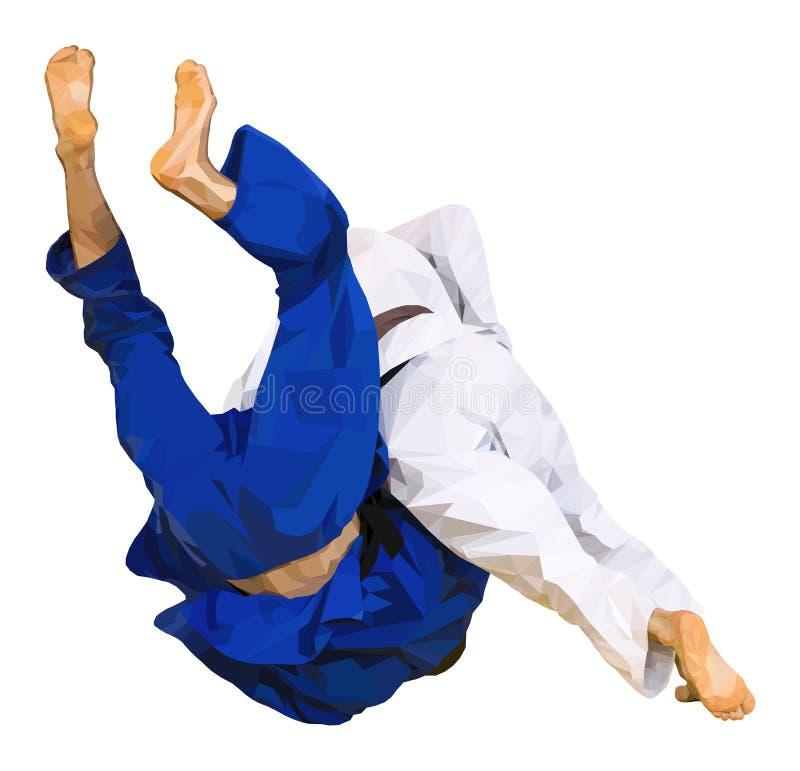 Το τζούντο μαχητών ρίχνει για το ippon διανυσματική απεικόνιση